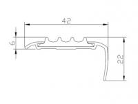 Алюминиевая накладка на ступени угловая AU42